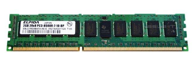 Memory RAM 1x 2GB ELPIDA ECC REGISTERED DDR3  1066MHz PC3-8500 RDIMM   EBJ21RE8BAFA-AE-E