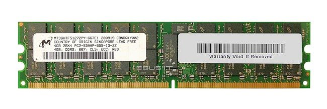 Memory RAM 1x 4GB Micron ECC REGISTERED DDR2  667MHz PC2-5300 RDIMM | MT36HVS51272PY-667E1